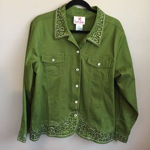 Vintage Bedazzled Cotton Jacket (Size Large)
